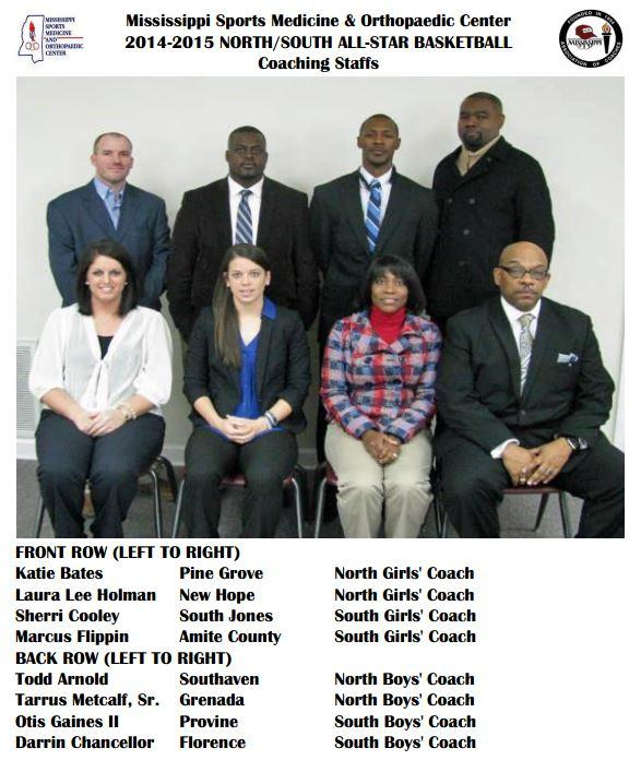 ms sports medicine north south all-star basketball coaching staffs